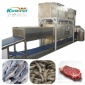 隧道式微波水产品海鲜大虾熟化解冻设备